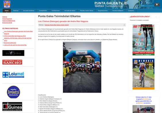 Txirrindulari Elkartearen web orria ofiziala. / Web de la sociedad ciclista Punta Galea, fundada en el año en 1975