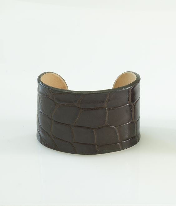 Classic Brown Genuine Alligator Cuff KATIE design Jewelry Modern