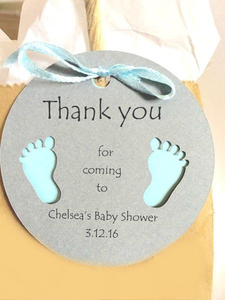Thank you for coming to my Baby Shower! Personalized Round Thank You Party Favor Tags with cute little Baby Feet!  Different colors available! www.KendollMade.com
