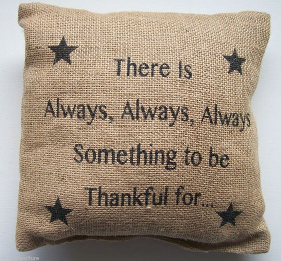'There Is Always Something To Be Thankful For' Burlap Accent Pillow With Insert #TheCountryHouseCollection