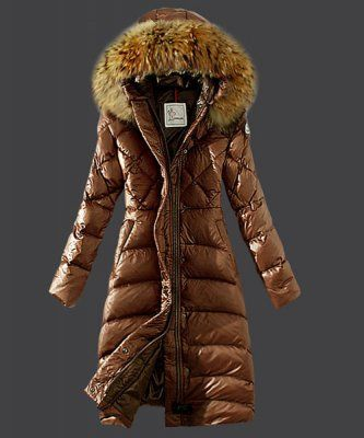 2015 New! Cheap Moncler Down Coat Women Hooded Windproof Coffee