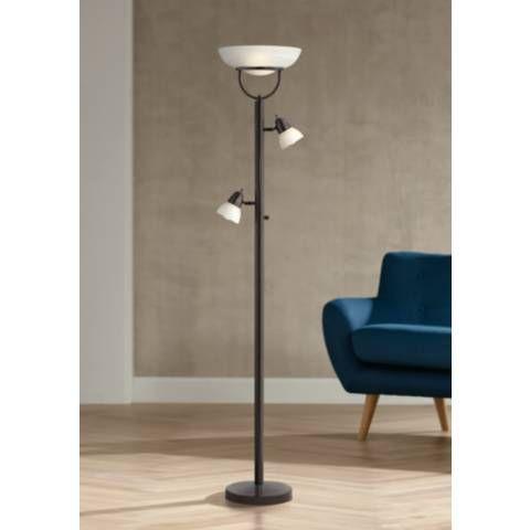 3 In 1 Bronze Modern Torchiere Floor Lamp 2j430 Lamps Plus Bronze Floor Lamp Floor Lamp Modern Floor Lamps
