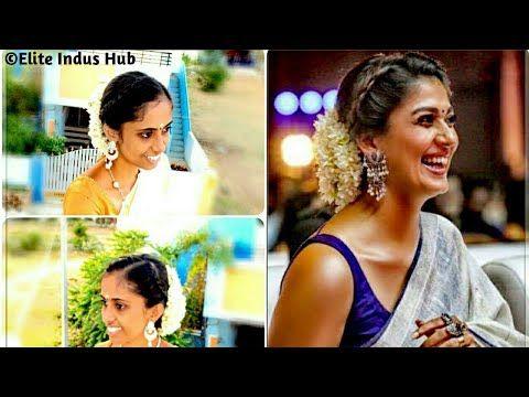 Dutch Braided Bun Bridal Bun With Flowers Nayanthara Vikatan Awards Hairstyle Youtube Nayanthara Hairstyle Bridal Hair Buns Bridal Bun