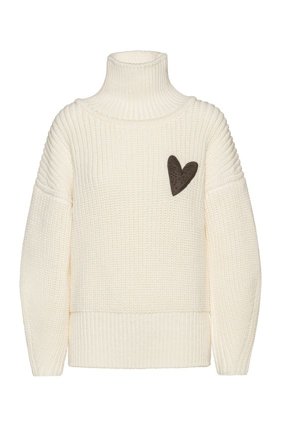 BOSS - Relaxed-fit sweater in virgin wool with heart motif