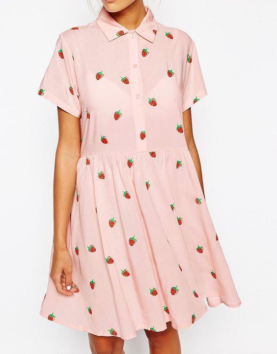 Image 3 ofLazy Oaf Shirt Dress In Mini Strawberries Print