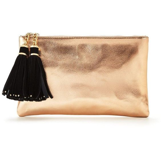 V By Very Double Tassel Metallic Clutch ($34) ❤ liked on Polyvore featuring bags, handbags, clutches, vintage clutches, rose purse, zip purse, vintage purses and zipper handbag