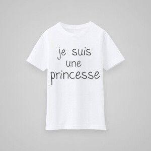 T-shirt - Je suis une princesse blanc 100% coton biologique