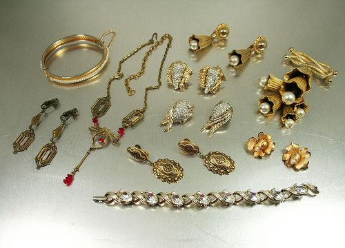 Gold Tone Designer Vintage Jewelry Lot Jomaz Lisner Ledo IPS 12K Gold Filled   eBay
