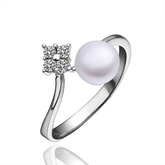 Gold Plated Cultured Pearl & Jewel Open Ring, Women's