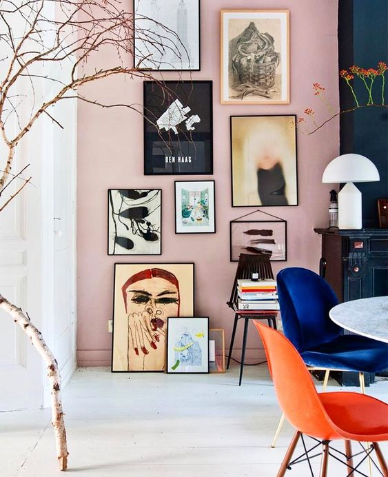 "Lonny on Instagram: ""The home of @theobert_pot has us fully committing to a blush pink gallery wall. ?? ??????// via @theobert_pot."""