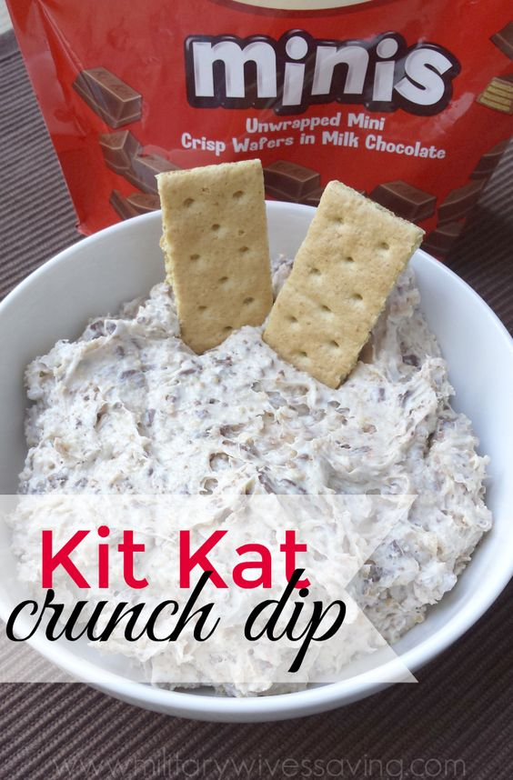 This Kit Kat Crunch Dip is a delicious dessert worth digging into with graham crackers, vanilla wafers, or even chocolate chip cookies!