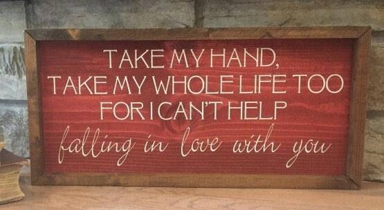 large framed wood sign cant help falling in love with you