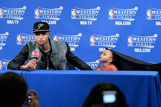 Golden State Warriors guard Stephen Curry (30) and Riley Curry address the media in a press conference after game five of the Western Conference Finals of the NBA Playoffs against the Houston Rockets at Oracle Arena. (USA TODAY Sports)