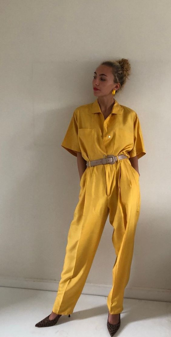 80s silk pant suit / saffron yellow 100% silk suit matching set / marigold short sleeve silk blouse