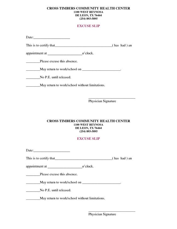 free doctors note template | scope of work template | On the Run ...