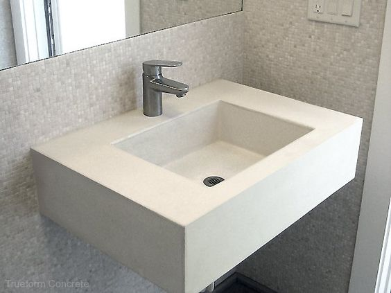 Floating wall mount concrete sink with a Novo sink. Concrete Sinks ...
