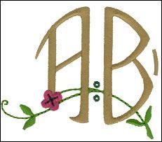 Arts and Crafts Monogram S  Left  2 3/8 inch high letters (60mm)   5 colors   (AL1102LA-Z)   stitch count: 1,150-3,245    embroideryarts.com   Right  2 3/8 inch high letters (60mm)   5 colors   (AL1102RA-Z)   stitch count: 1,150-3,245    et 3