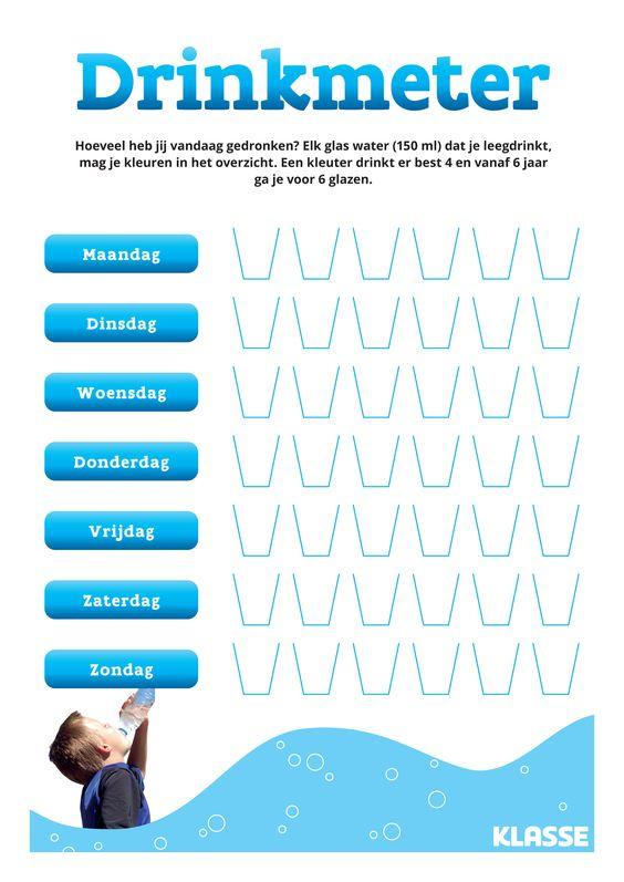 Leer je kind voldoende water drinken. Lukt het om elke dag zes glaasjes te drinken?