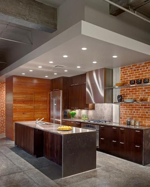 two tone modern kitchen pure lines and minimalist with brick wall