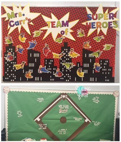 Sliding into First!, classroom organization, classroom decor, bulletin boards, sports theme, baseball, football, team theme, back to school