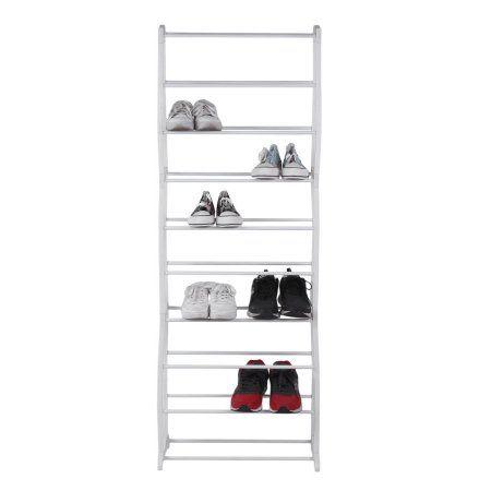 Simple Mainstays 10 Tier 30 Pair Shoe Rack Space Saving Storage Organizer Steel Stand Shelf Hold Space Saving Shelves Storage Closet Organization Shelf Holders