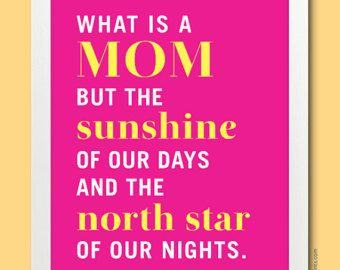 Gift Idea for Mom - 8x10 What is a Mom Quote Art Print, in fuchsia & yellow, Mother Day Gift #momquotes #wordswelove