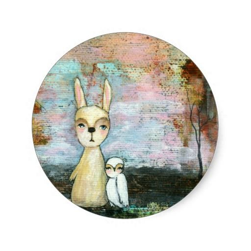 My Best Friend, Baby Rabbit, Baby Owl Abstract Art Greeting Card ...