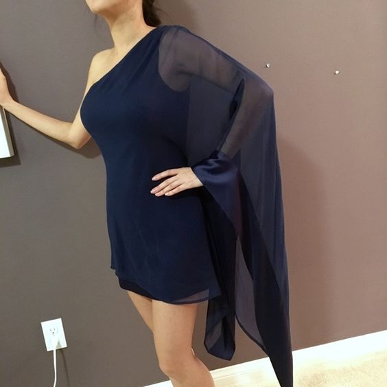 Guess by Marciano Dress! Flowy and sexy navy one shoulder blue dress. In great condition!! Guess by Marciano Dresses Mini