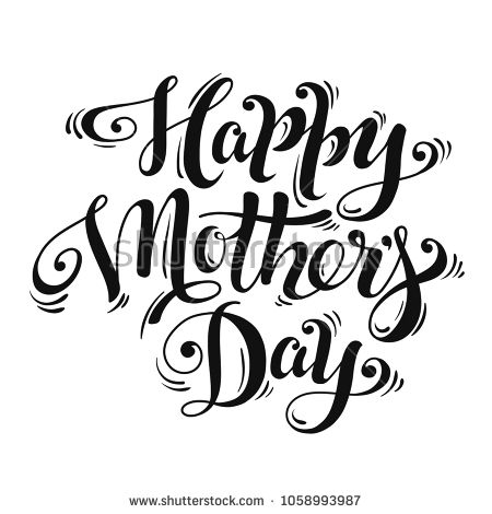 Hand Lettering Happy Mother S Day For Greeting Card Banner Poster Modern Brush Calligraphy Black Lettering Grafika Vektornaya Grafika