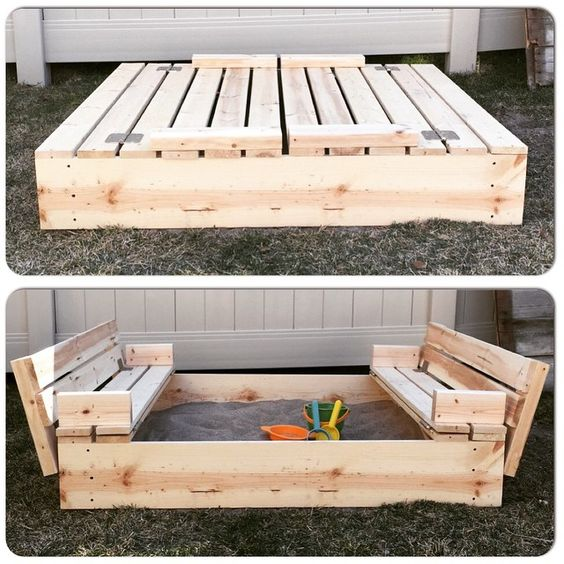 I ADORE this DIY Sandbox with Fold-Out Seats SO much!:
