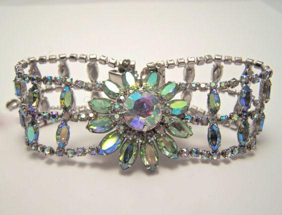 JayKel sterling center flower green ab rhinestone by glitzythings, $85.00: