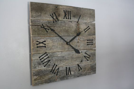 large rustic wall clock gray washed color washed wood repurposed wood wall clocks
