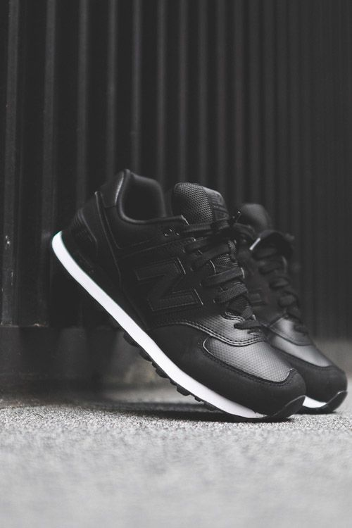 new balance leather 574 Black