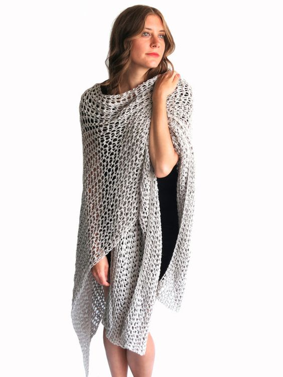 Knit Beach Cover Up Pattern : PATTERN for Loose Knit Crochet Poncho Beach Cover Up Wrap Cape Cardigan Ruana...