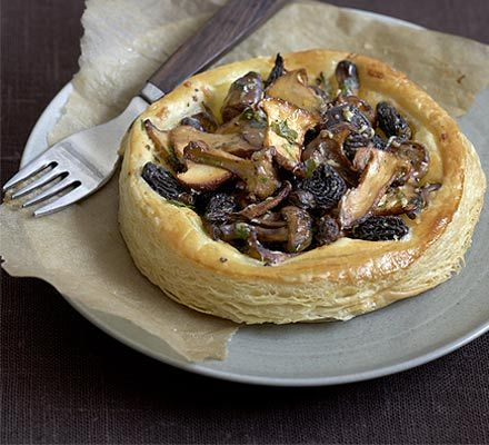 Wild mushroom tartlets:  375g block all-butter puff pastry  flour , for dusting  25g butter  300g mixed wild mushrooms or just one type, cleaned and sliced  25g Parmesan (or vegetarian alternative), finely grated  small handful parsley leaves, chopped  1 garlic clove , finely chopped  1 egg , beaten