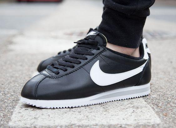 Nike Cortez Black Leather Shoes