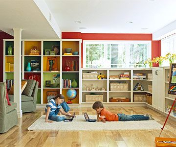 basement remodeling ideas play spaces playrooms and basement storage. Black Bedroom Furniture Sets. Home Design Ideas