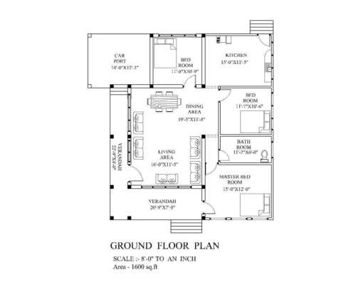 Modern House Plan Blueprints Pdf 1600 Sf New Home Complete House Plan 1 Story Modern House Plan House Plans Modern House