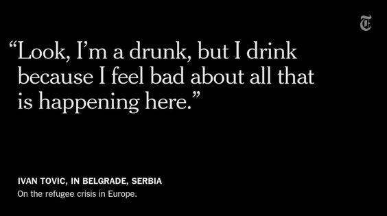 A drunk Serb among the Middle Eastern refugees in Belgrade http://nyti.ms/1NHgd7v  by @nabihbulos