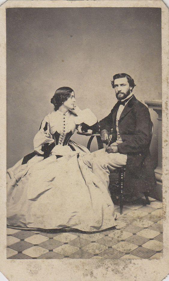 CDV Carte de Visite Civil War Era Husband Wife Fancy Hoop Dress ID'D George and Emma Merrill | eBay: