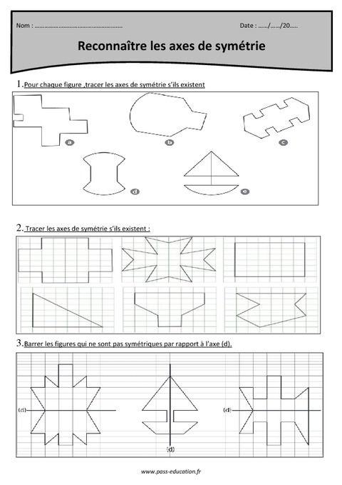 Axes De Symetrie Reconnaitre Cm1 Exercices Corriges Axe De Symetrie Symetrie Ce2 Symetrie Cm1
