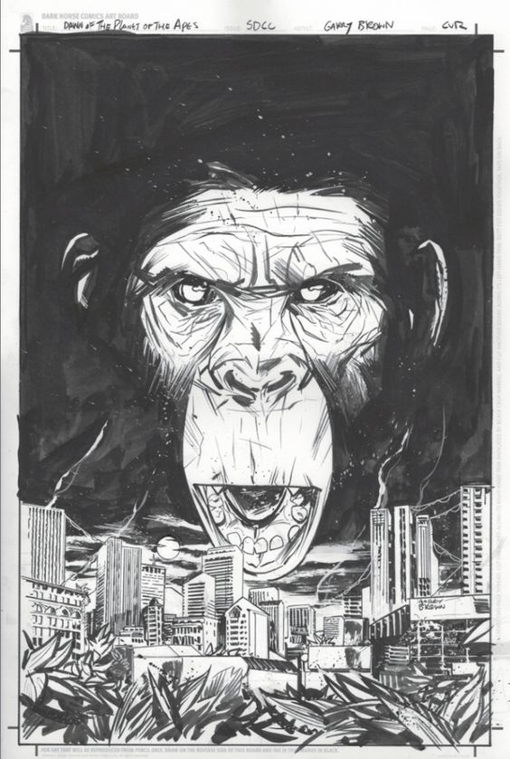 SDCC Dawn of the Planet of the Apes inks by thisismyboomstick.deviantart.com on @deviantART