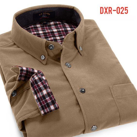 2015 outono / inverno Cordury homens Turn down collar patchwork xadrez manga de alta qualidade camisa roupas masculinas em Camisas Casuais de Roupas e Acessórios - Masculino no AliExpress.com | Alibaba Group