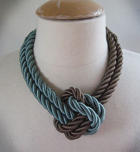 diy rope necklace using curtain trim fittings