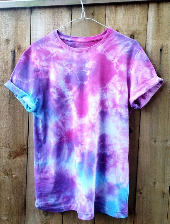 Blue Purple And Pink Tie Dye Short Sleeved T Shirt