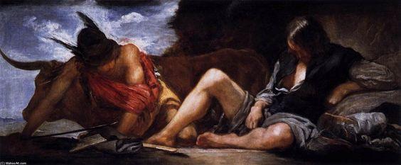 'Merkur und Argus', öl auf leinwand von Diego Velazquez (1599-1660, Spain)