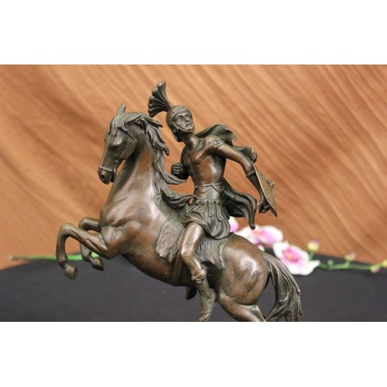 ON SALE !!! Signed Guillame Bronze Roman Ancient King Warrior Statue Figurine...The Soldier Turns Away From The Battle And Looks Onto The Hill Where His Commanding Officer Stands And Delivers His Orders. His Body Language And Gaze Suggest That He Would Do Anything Commanded Of Him In Order To Preserve His Nation. His Steed Rears And Is Ready To Charge Into The Midst Of Battle, While The Cloak On His Shoulder Swiftly Billows In The Wind. It Is A Symbol Of A Proud Heritage And Steadfast ...
