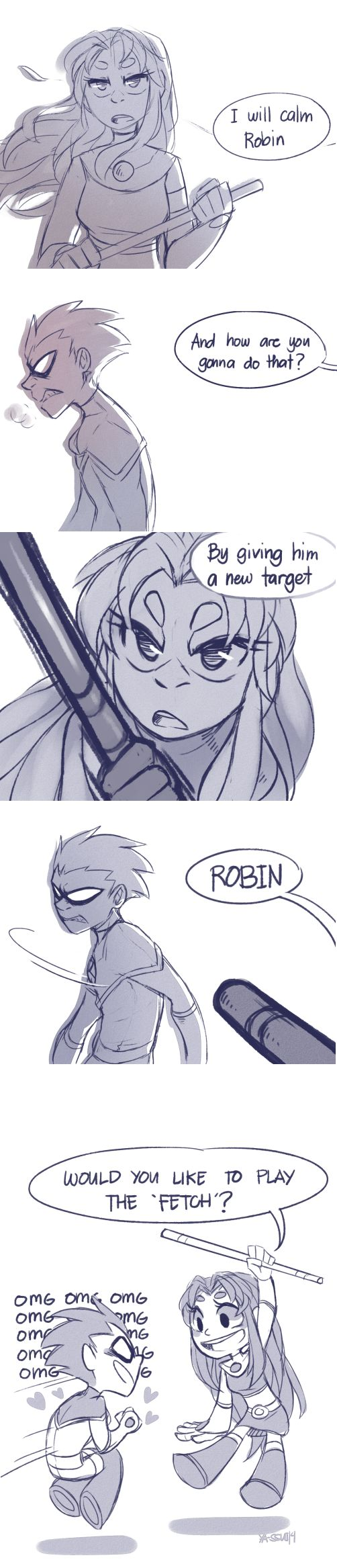tags: teen titans, robstar, robin, starfire, tamaranean robin, starbolt five