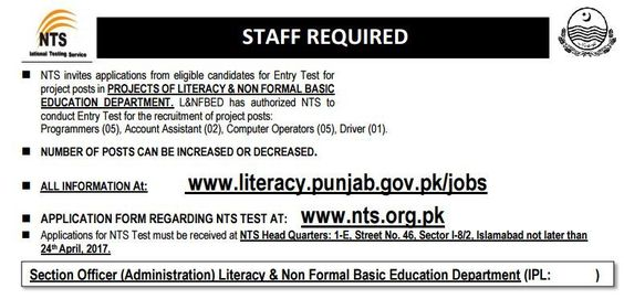 Literacy \ Non Formal Basic Education Department NTS Jobs Jobs - basic application form