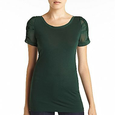 MNG by Mango® Puff-Lace-Sleeve Top - jcpenney